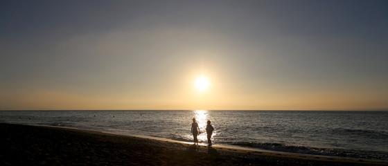 Beautiful sunrise on the beach. Malaga in Andalusia, Spain