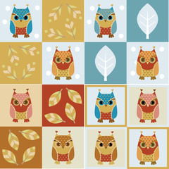 Owl seamless backgrounds