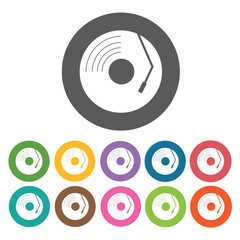 Vinyl record with needle icon. Music equipment icon set. Round c