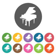 Piano icon. Music equipment icon set. Round colourful 12 buttons