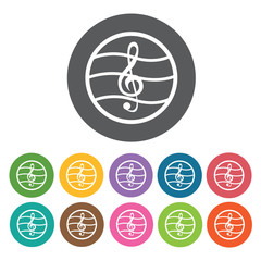 G-clef on staff icon. Music equipment icon set. Round colourful