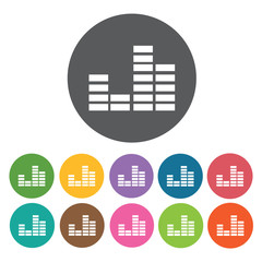 Sound bars stacked icon. Music equipment icon set. Round colourf