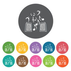 Two speakers icon. Music equipment icon set. Round colourful 12