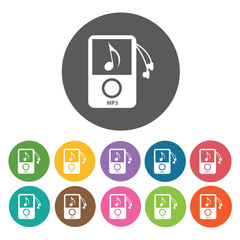 Mp3 player with earphones icon. Music equipment icon set. Round