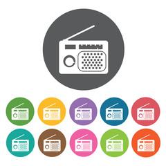 Radio with antennae icon. Music equipment icon set. Round colour
