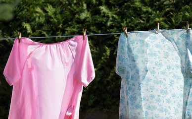 Nightgowns on clothesline