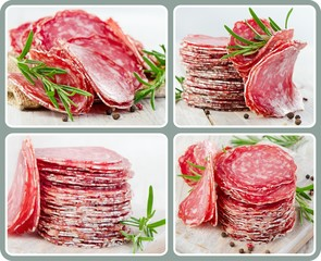 collage salami with herbs