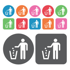 Person throwing garbage on waste bin icon. Trash can icons set.