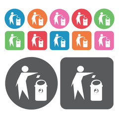Person throwing garbage on office waste bin icon. Trash can icon
