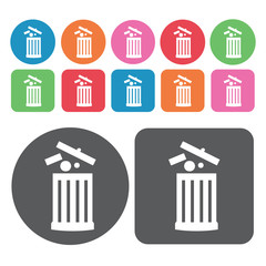 Garbage can with open lid and garbage icon. Trash can icons set.