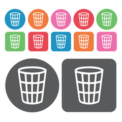 Wire waste bin icon. Trash can icons set. Round and rectangle co