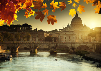 autumn sunset and St Peter Basilica in Vatican