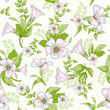 Retro flower seamless pattern - wildflowers
