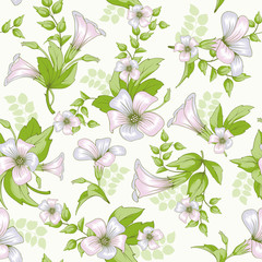 Retro flower seamless pattern - wildflowers