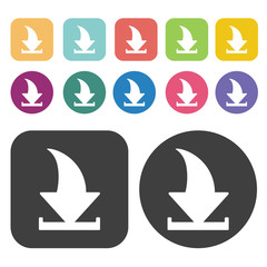 Curved download arrow above slot icon. Upload download sign icon