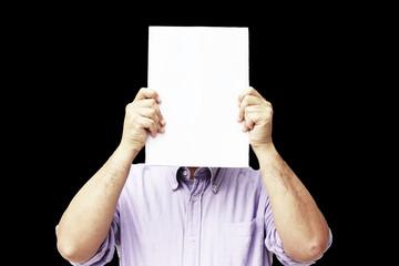 Man showing a white sheet