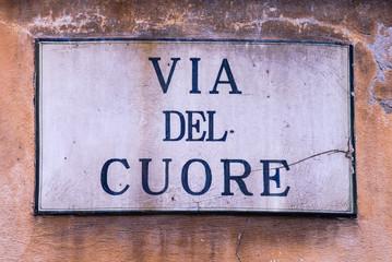 Targa Indicazione Via del Cuore, Strada, Pisa