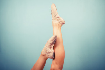 Slender female legs in ballet slippers