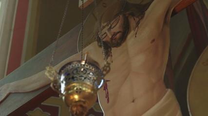 Jesus body on the cross in Christian Orthodox Church