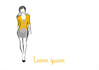 fashion woman with knee and a silk blouse logo illustration