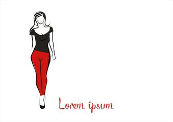 fashion woman pants and silk clothing logo vector illustration