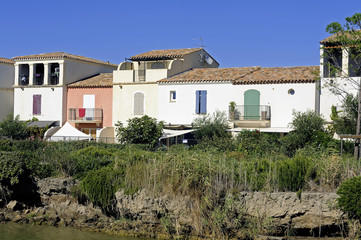 Residential area with marina at Aigues-Mortes