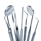 Set of metal medical equipment tools for teeth dental care - 70483321