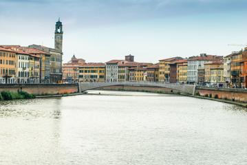 Panorama, veduta Ponte di Mezzo di Pisa