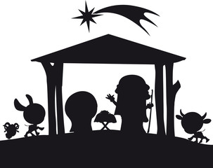 christmas nativity silhouette illustration