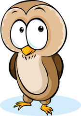 cute owl cartoon - vector illustration isolated on white