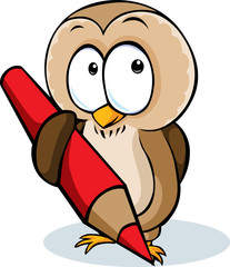 cute owl hold pencil cartoon - vector illustration