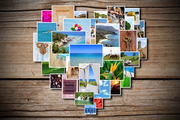 Collage Herz auf Holzhintergund