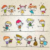 Fototapety hand drawing happy kids