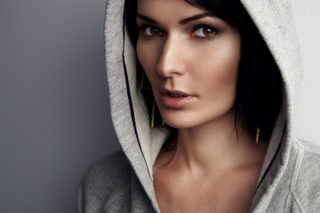 portrait of a woman en hoodie, sweatshirt