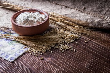 Wheat grain,flour and bread.
