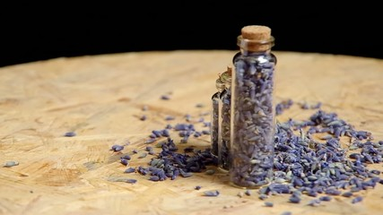 Dried lavender revolve on the table