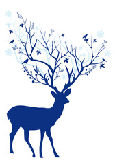 Blue Christmas deer, vector