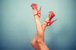 canvas print picture - Female legs in stripper heels