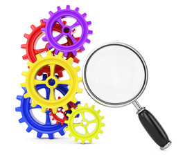 Colorful cogwheels and magnifier