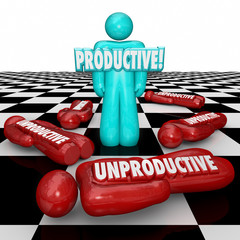 Productive Vs Unproductive Workers One Person Standing Most Effi
