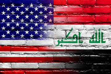 Iraq and USA Flag painted on brick wall