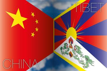 china vs tibet flags