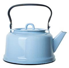 light blue enamelled  teapot isolated on white background