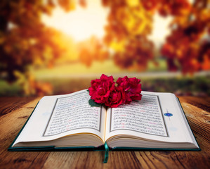 Quran and rose on the wood table, autumn background.