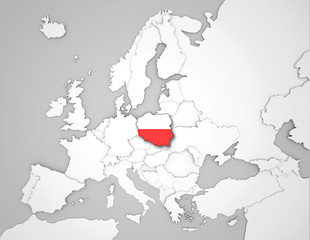 Europakarte mit Polenflagge