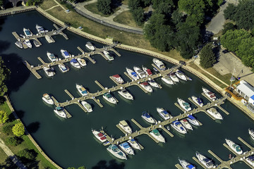 Boats in little port, aerial view