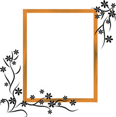Wooden frame with black flowers isolated ob white