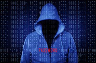 Anonymer Hacker ohne Gesicht mit der Aufschrift Passwort
