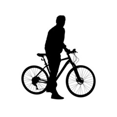 Silhouette man on a bicycle