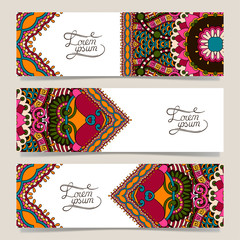 Set of three horizontal banners with decorative ornamental